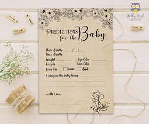 Rustic Floral Themed Baby Shower Game Card Predictions For Baby