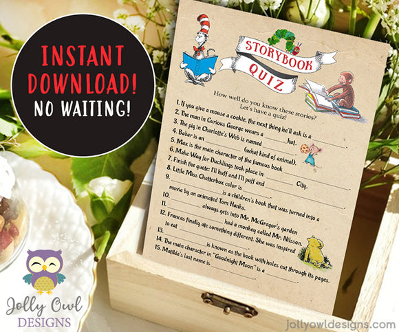 Book Themed Baby Shower Game - Storybook Quiz - Jolly Owl Designs
