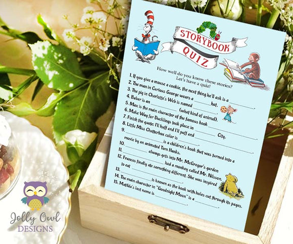 Book Themed Baby Shower Game - Storybook Quiz