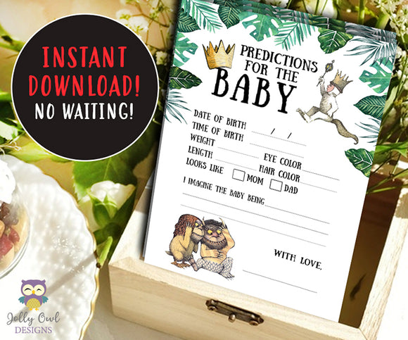 Where The Wild Things Are Baby Shower Game Card - Predictions For Baby