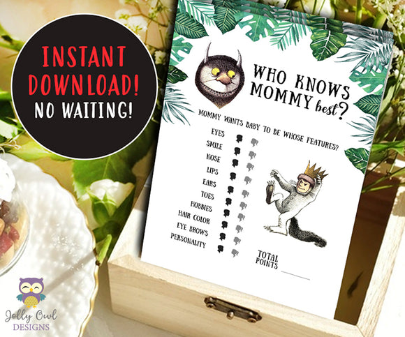 Where The Wild Things Are Baby Shower Game Card - Who Knows Mommy Best?