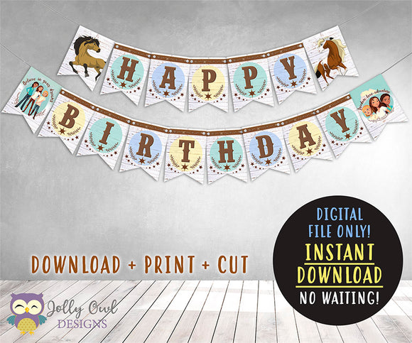 Spirit Riding Free Theme Happy Birthday Printable Banner
