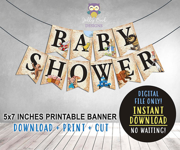 Book Themed Baby Shower Printable Banner