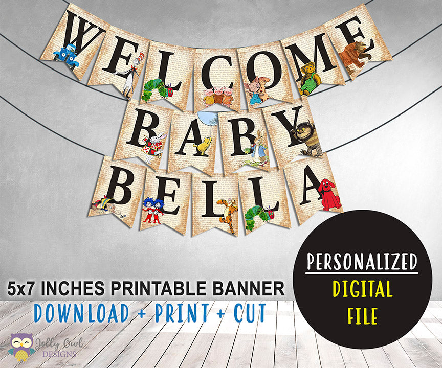 Book Themed Printable Baby Shower Banner Decoration Jolly Owl Designs