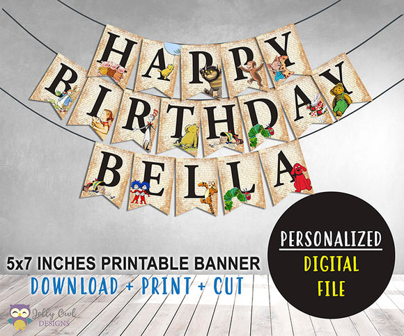 Book Themed Happy Birthday Banner - Personalized
