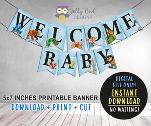 Story Book Themed Baby Shower Printable Banner - Blue