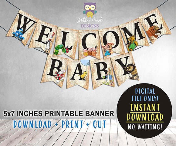 Book Themed Baby Shower Printable Banner - Welcome Baby
