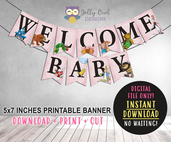 Story Book Themed Baby Shower Printable Banner - Pink - Jolly Owl Designs