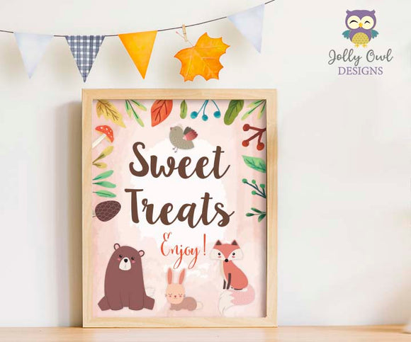 Woodland Themed Baby Shower/Birthday Party Sweet Treats Sign