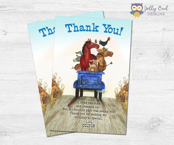 Little Blue Truck Thank You Card