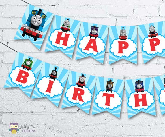 Thomas The Train Happy Birthday Printable Banner - Jolly Owl Designs