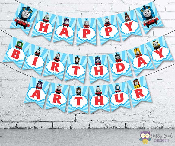 Thomas The Train Personalized Happy Birthday Printable Banner - Jolly Owl Designs