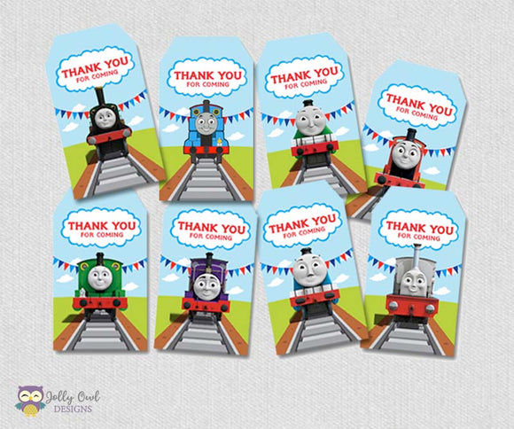 Thomas The Train Party Favor Tag - Thank You Tag - Jolly Owl Designs