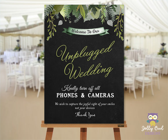 Green Garden Themed Unplugged Wedding Sign