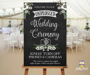 Floral Unplugged Wedding Sign
