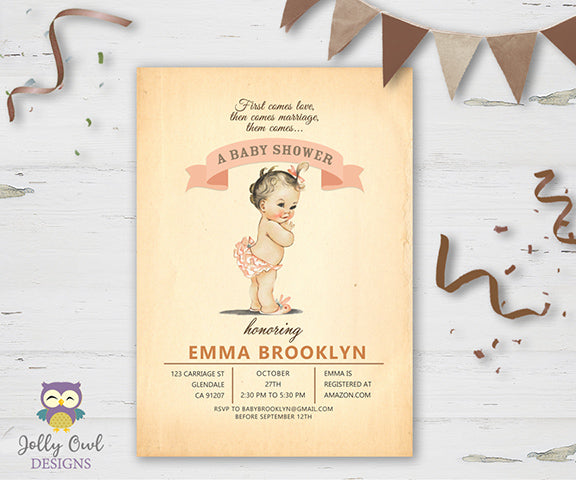 Baby Shower Party Invitation - Vintage Baby