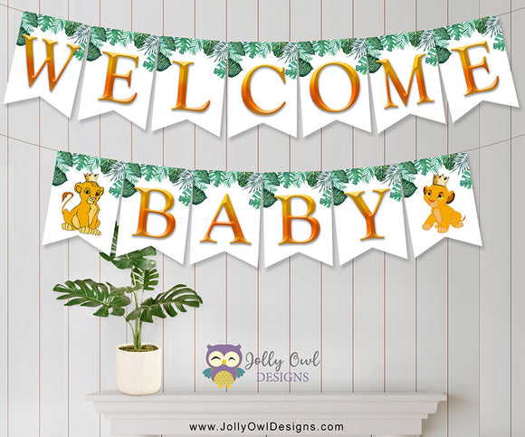 The Lion King Baby Shower Banner - Welcome baby