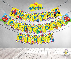 Wiggles Personalized Happy Birthday Printable Banner