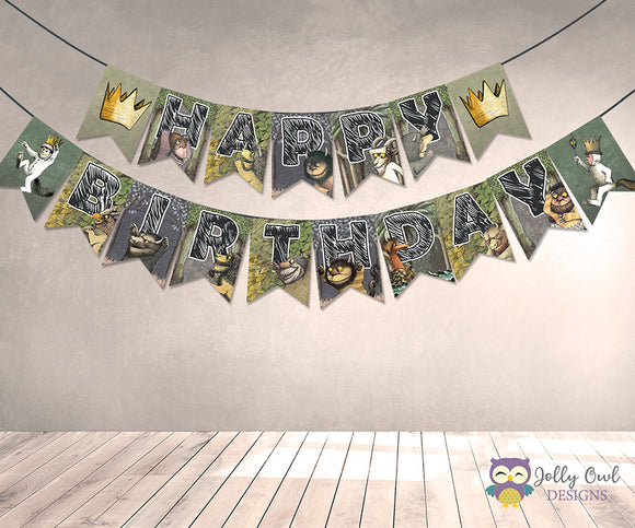 Where The Wild Things Are Printable Banner - Happy Birthday