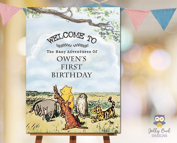 Winnie The Pooh Birthday Party Welcome Sign