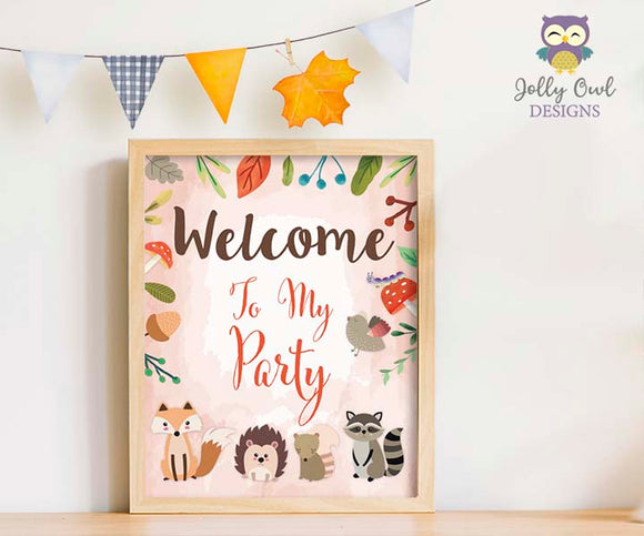 Woodland Themed Party Welcome Sign