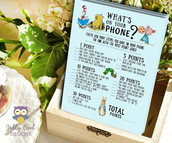 Book Themed Baby Shower Game - What's On Your Phone