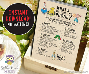 Book Themed Baby Shower Game - What's On Your Phone - Jolly Owl Designs