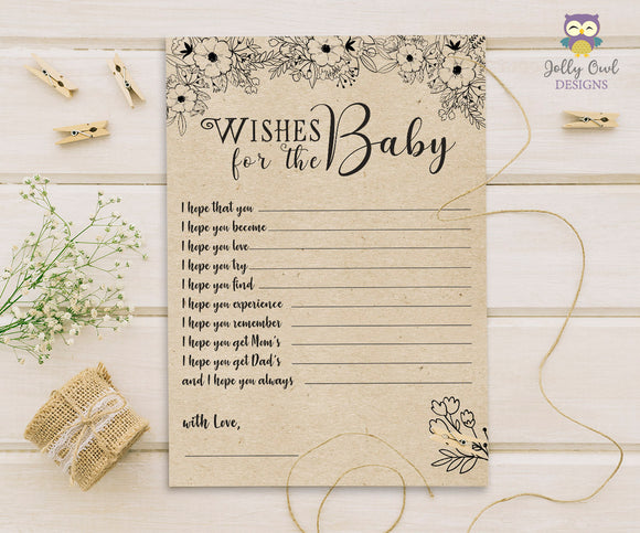 Rustic Floral Themed Baby Shower Game Card Wishes for the Baby