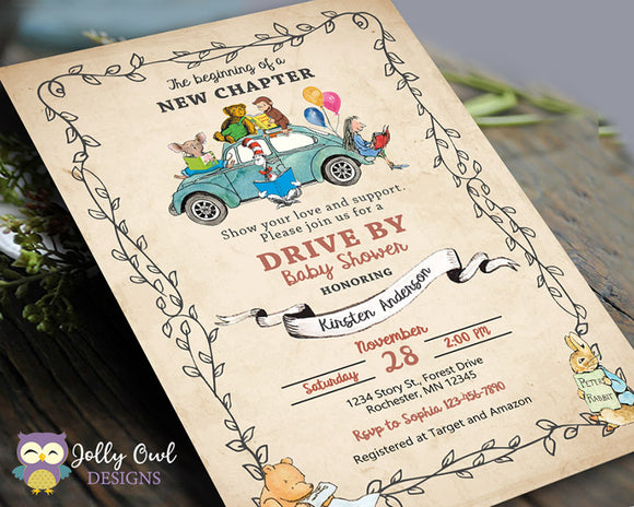 Drive By Storybook Themed Baby Shower Parade Invitation