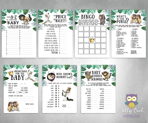Where The Wild Things Are Baby Shower Games - 7 Games BUNDLE SET