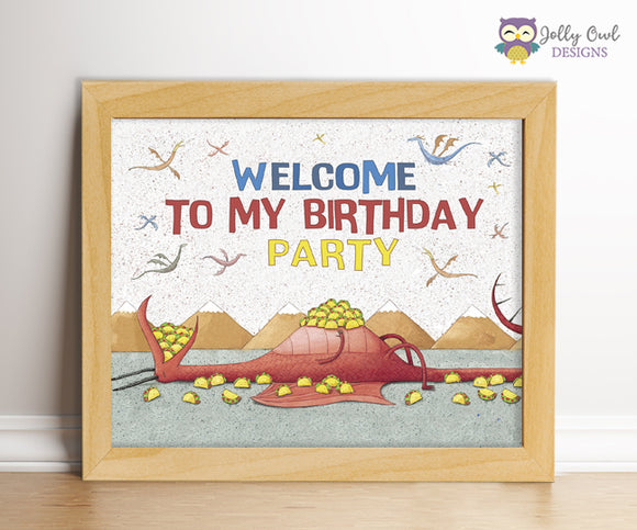 Dragons Love Tacos Birthday Party Sign