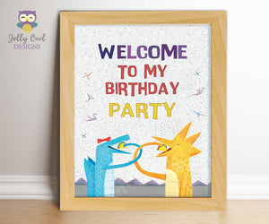 Dragons Love Tacos Birthday Party Welcome Sign