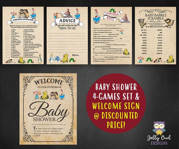 Story Book Themed Baby Shower Games and Welcome Sign Bundle Set