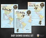 Baby Around The World Themed Baby Shower Games - 3 Games Bundle Set