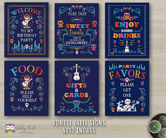COCO Birthday Party Signs - Bundle Set