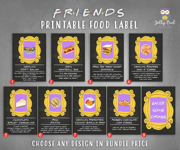 Friends TV Themed Party Food Label Bundle - Jolly Owl Designs