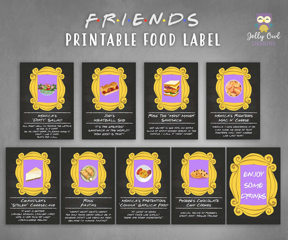 Friends TV Themed Party Food Label - Jolly Owl Designs