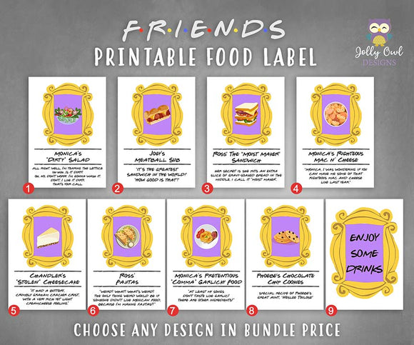 Friends TV Themed Party Food Label Bundle Set