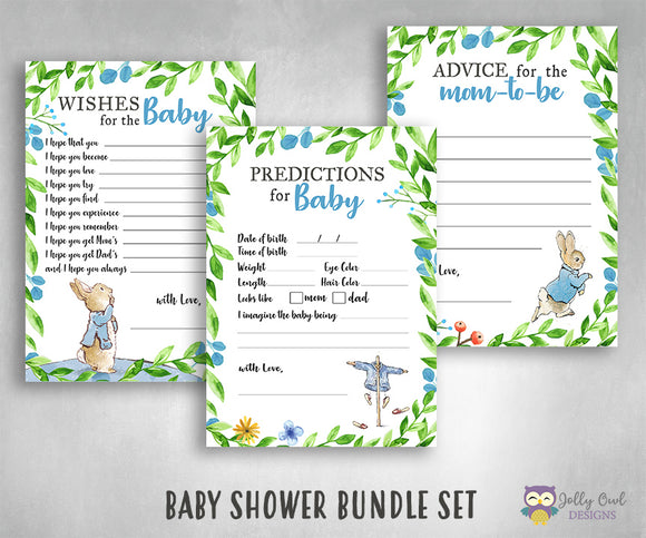 Peter Rabbit Themed Baby Shower Games Bundle Set