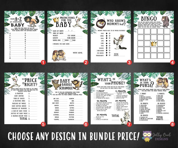 Where The Wild Things Are Baby Shower Games Bundle Set