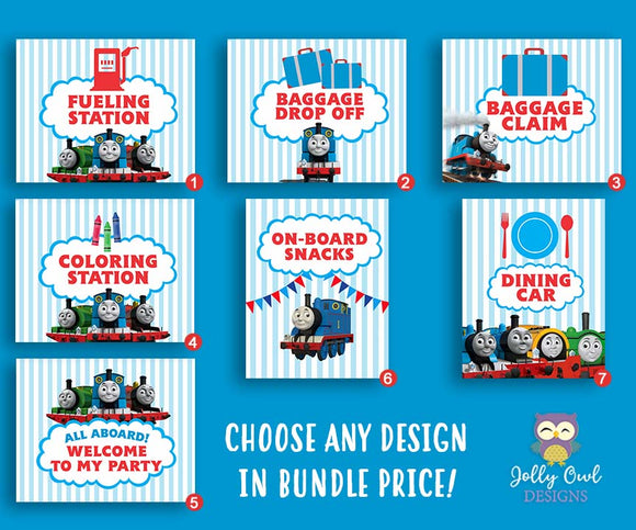 Thomas The Train Party Signs Bundle Set - Jolly Owl Designs