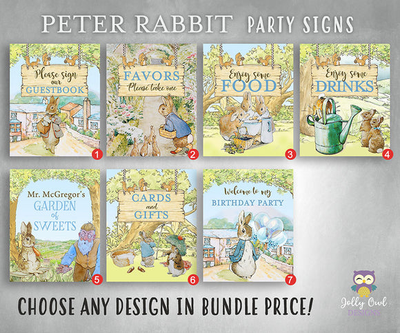 Peter Rabbit Party Signs Bundle Set