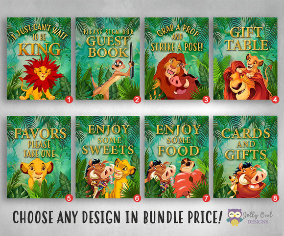 Lion King Party Signs Bundle Set