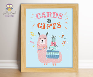 Llama Birthday Party Signs - Cards and Gifts
