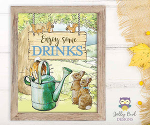 Peter Rabbit Party Signs - Enjoy Some Drinks