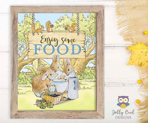 Peter Rabbit Party Signs - Enjoy Some Food