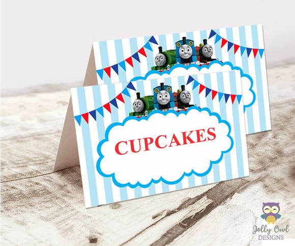 Food Tent Label for Thomas The Train Birthday Party - Jolly Owl Designs