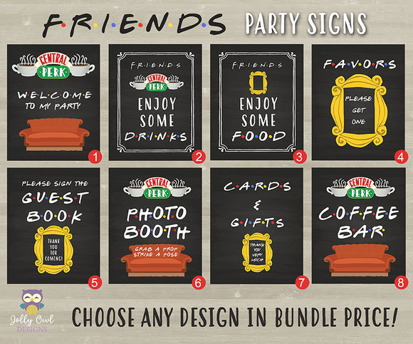 FRIENDS TV Party Signs Bundle