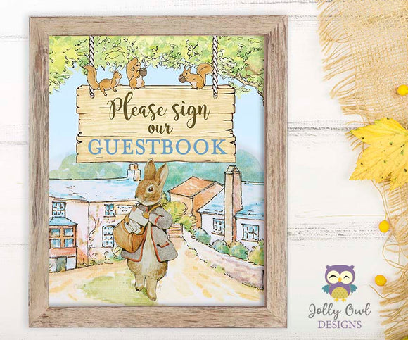Peter Rabbit Party Signs - Sign Our Guestbook