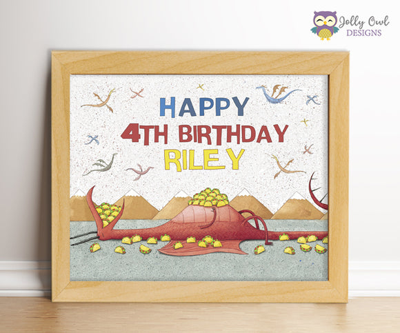 Dragons Love Tacos Birthday Party Sign - Personalized